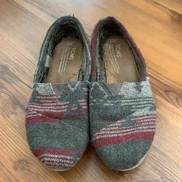 Well worn Toms wool shoes